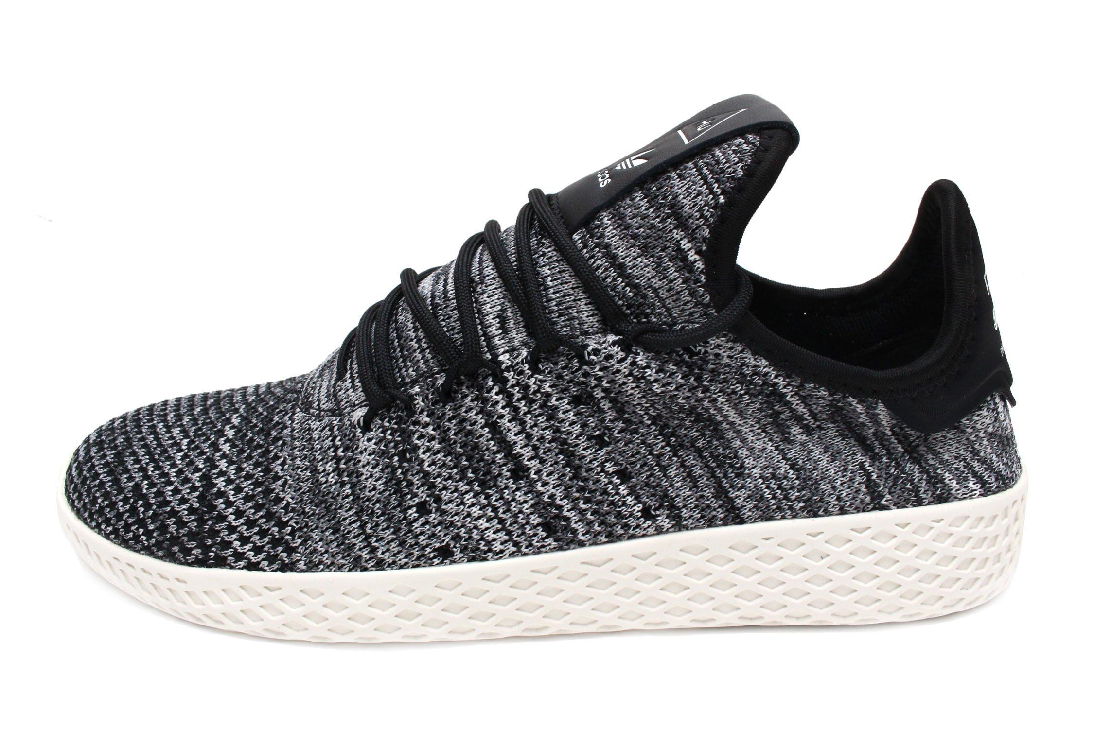 adidas Originals Pharrell Williams Tennis HU Pimeknit Shoe - Men's Casual 4.5 Chalk White/Core Black/Cloud White