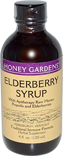 Honey Gardens Elderberry Syrup w Apitherapy Raw Honey, Propolis Elderberries Immune Formula 24 Serv 4 fl. oz.