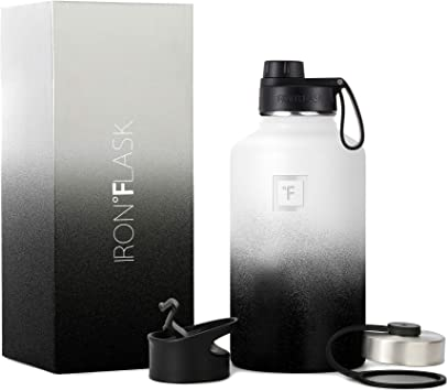 IRON °FLASK Sports Water Bottle - 64 Oz, 3 Lids (Spout Lid), Vacuum Insulated Stainless Steel, Modern Double Walled, Simple Thermo Mug, Hydro Metal Canteen