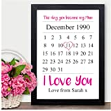 Day You Became My Mum - Personalised Christmas Gifts for MUM MUMMY NANNY GRANNY - PERSONALISED with ANY NAME and ANY RECIPIENT - Black or White Framed A5, A4, A3 Prints or 18mm Wooden Blocks
