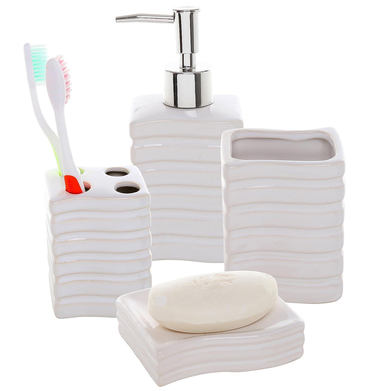 Amazon.com: 4 Pc Ribbed White Ceramic Bath Accessory Set ...