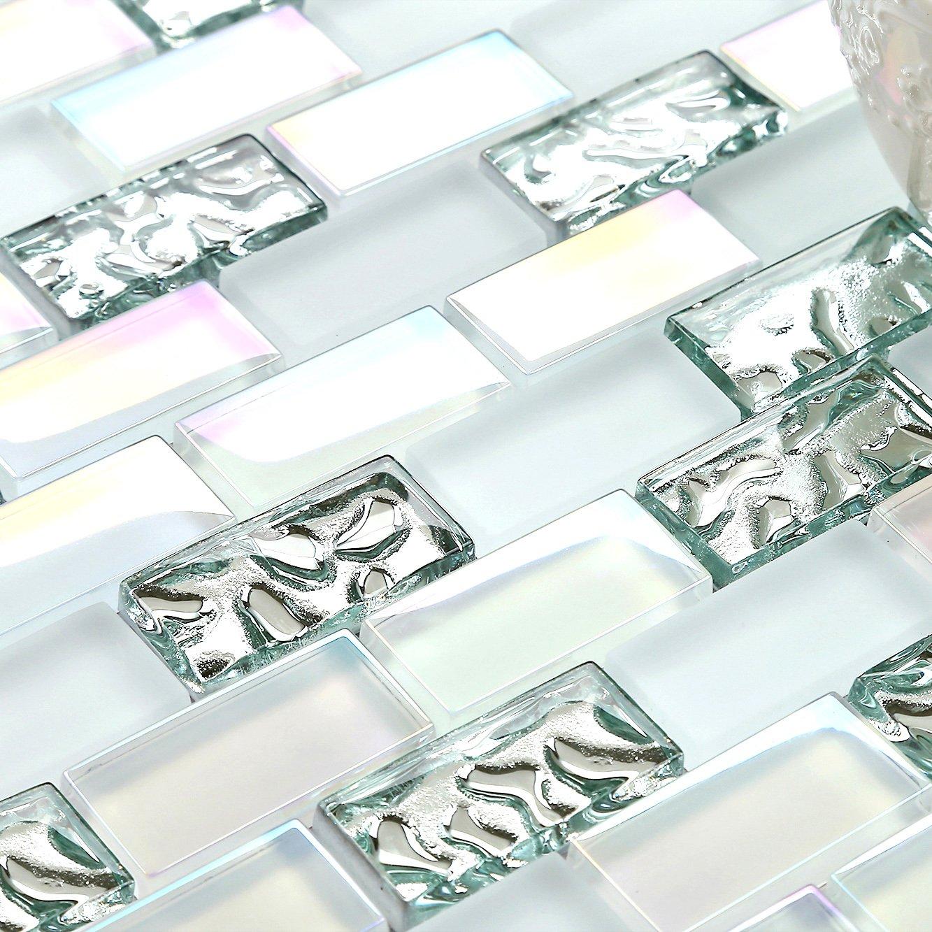 11 Sheets Subway White Glass Mosaic Iridescent Finish Silver Tile ...