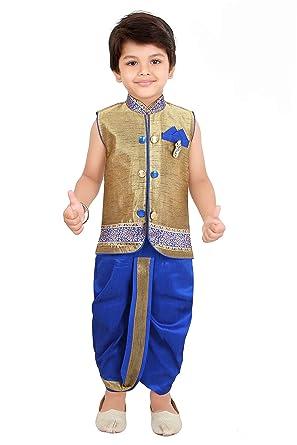 9e496165363 NeedyBee Kids Ethnic Wear Baby Boys Formal Silk with Cotton Lining  Sleeveless Dhoti Kurta Festival and Wedding Dress Set for 3-24 Months   Amazon.in  ...