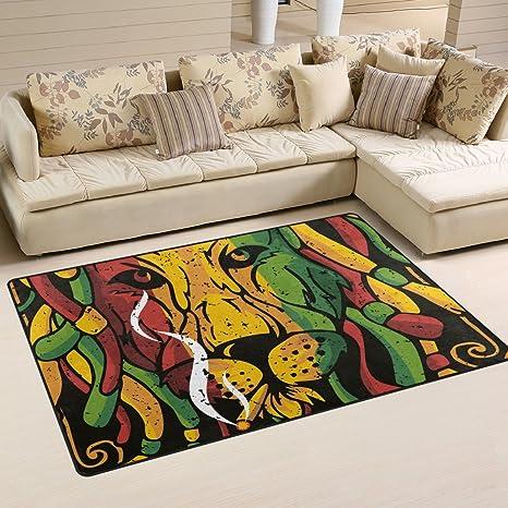 Amazon.com : Sunlome Creative Graphics Lion Rasta Area Rug Rugs Non Slip  Indoor Outdoor Floor Mat Doormats For Home Decor 60 X 39 Inches : Garden U0026  Outdoor