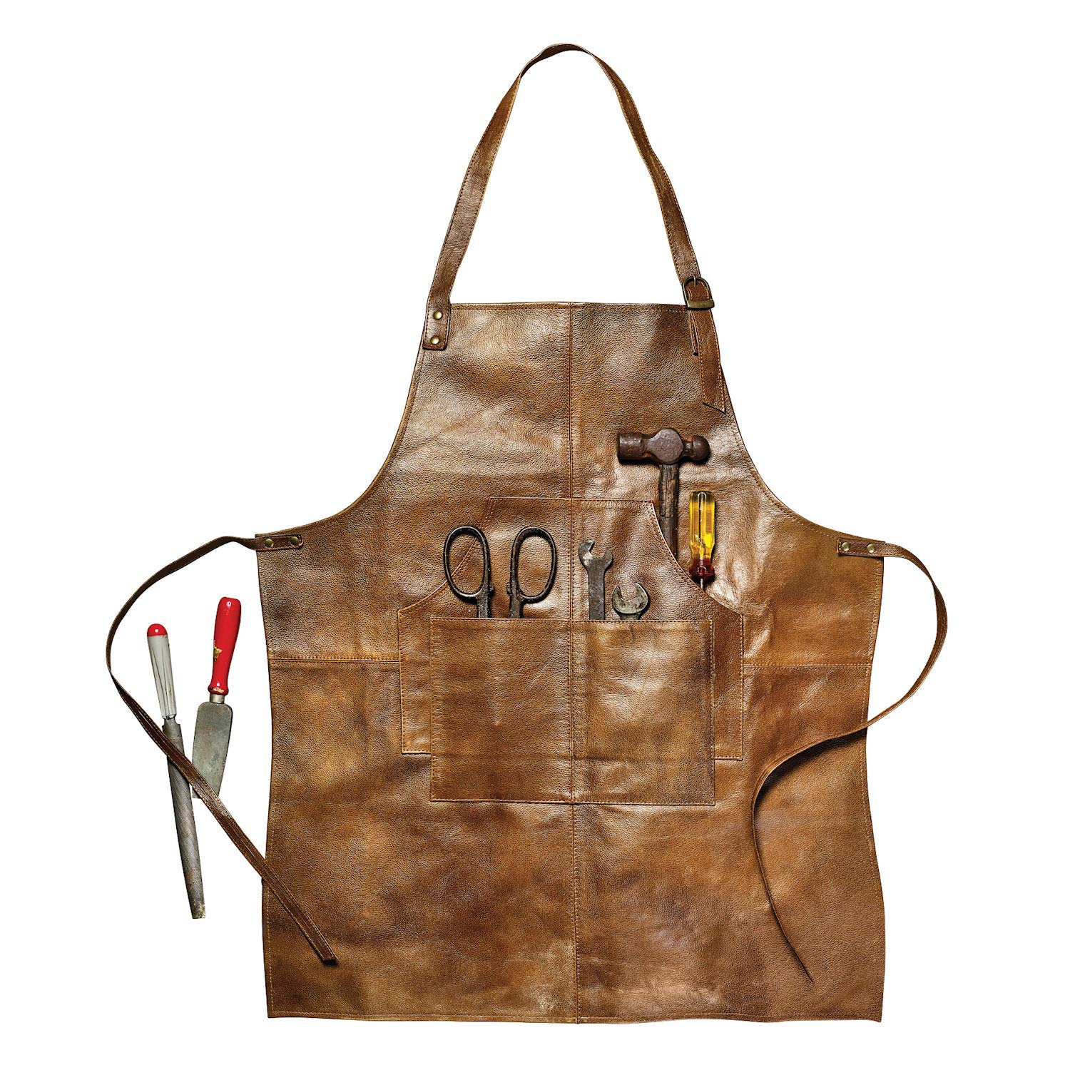 What on Earth Men's Leather Shop Work Kitchen Apron - 4 Tool Pockets, 29'' L by WHAT ON EARTH