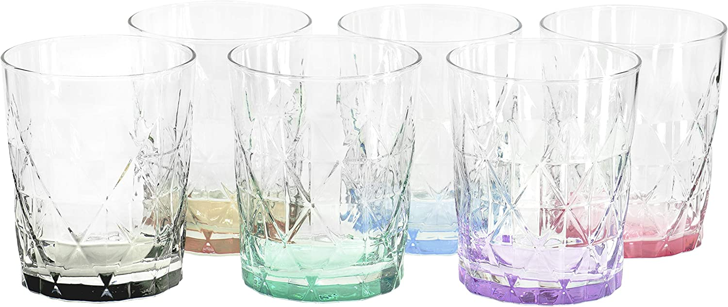 Red Co. Diamond Pattern Pure Pastel Colored Drinking Glass Set of 6, 11.75 oz.