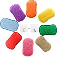 Microfiber Dual Action Kitchen Scrub Sponge, YOUYOUTE 5 Pack Washing Up Cleaner Heavy Duty Scouring Pads Household…