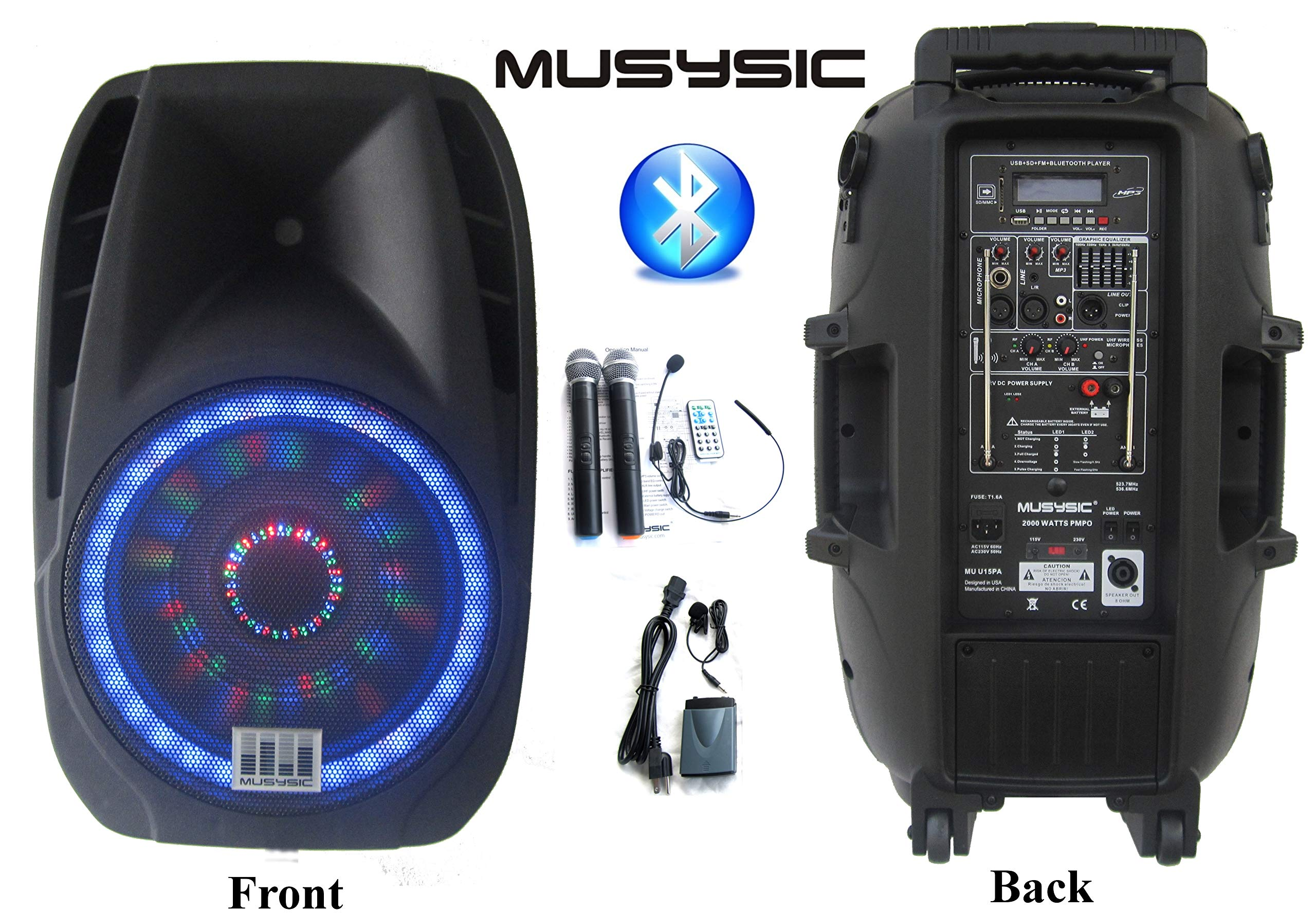 Professional 2000 Watts Portable 15'' PA System Speaker Bluetooth Dual UHF Wireless Mics Bluetooth Recording Rechargeable Battery MUSYSIC U15PA