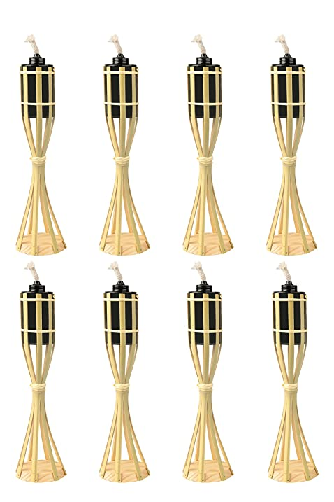 Bamboo Tiki Torches   8 Pack   Metal Oil Canister   14in High, 6oz.
