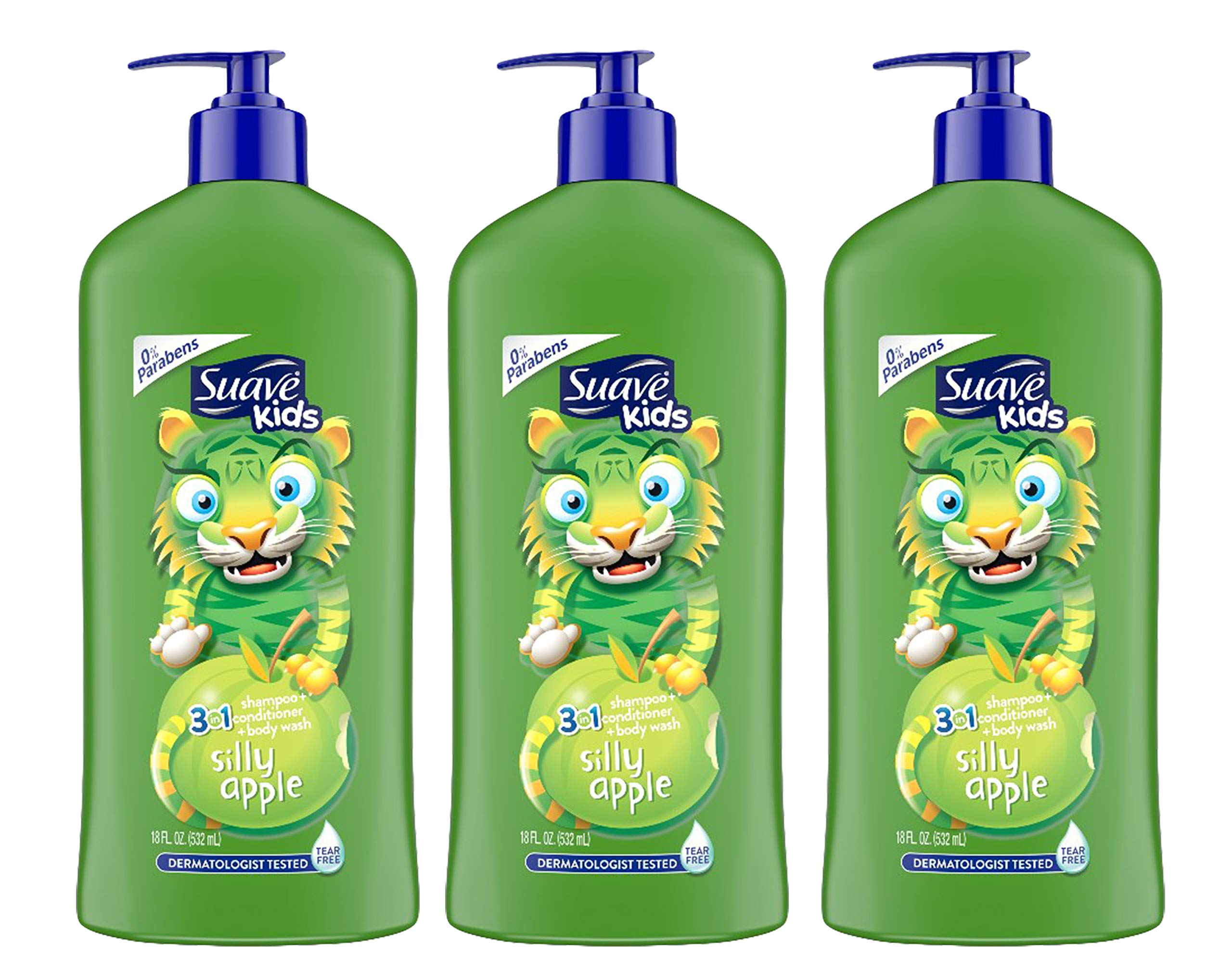 Suave Kids 3 in 1 Shampoo, conditioner + Body Wash, 18 Ounce (Pack of 3) by Suave