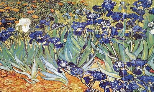 FlekmanArt Diseño de lirios en el jardín de Vincent van Gogh – Mural de Azulejos de cerámica Art 30