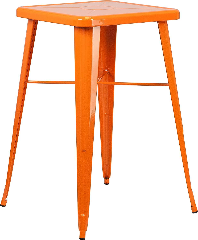 "Flash Furniture Commercial Grade 23.75"" Square Orange Metal Indoor-Outdoor Bar Height Table"