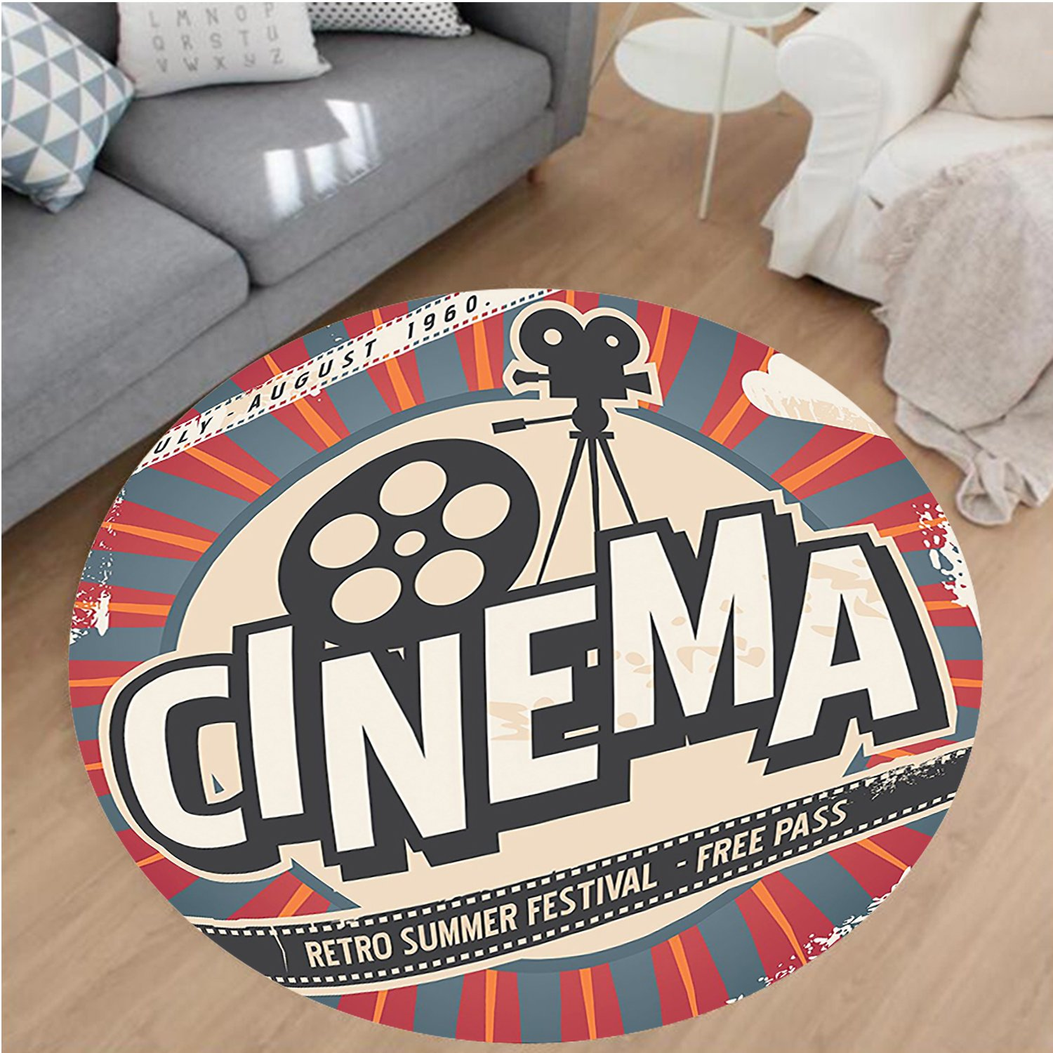 Nalahome Modern Flannel Microfiber Non-Slip Machine Washable Round Area Rug-tro Cinema Movie Vintage Paper Texture Hollywood Stars Decorative Design Beige Amber Grey area rugs Home Decor-Round 40''