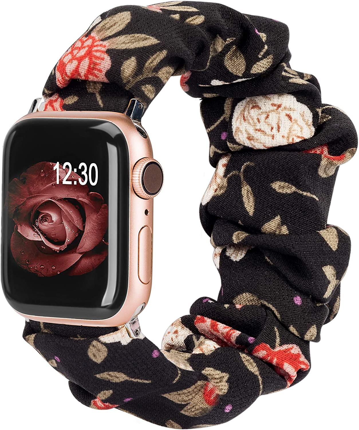 TOYOUTHS Compatible with Apple Watch Band Scrunchies 42mm Cloth Soft Pattern Printed Fabric Wristband Bracelet Women Rose Gold IWatch Cute Elastic Scrunchy Bands 44mm Series SE 6 5 4 3 2 1