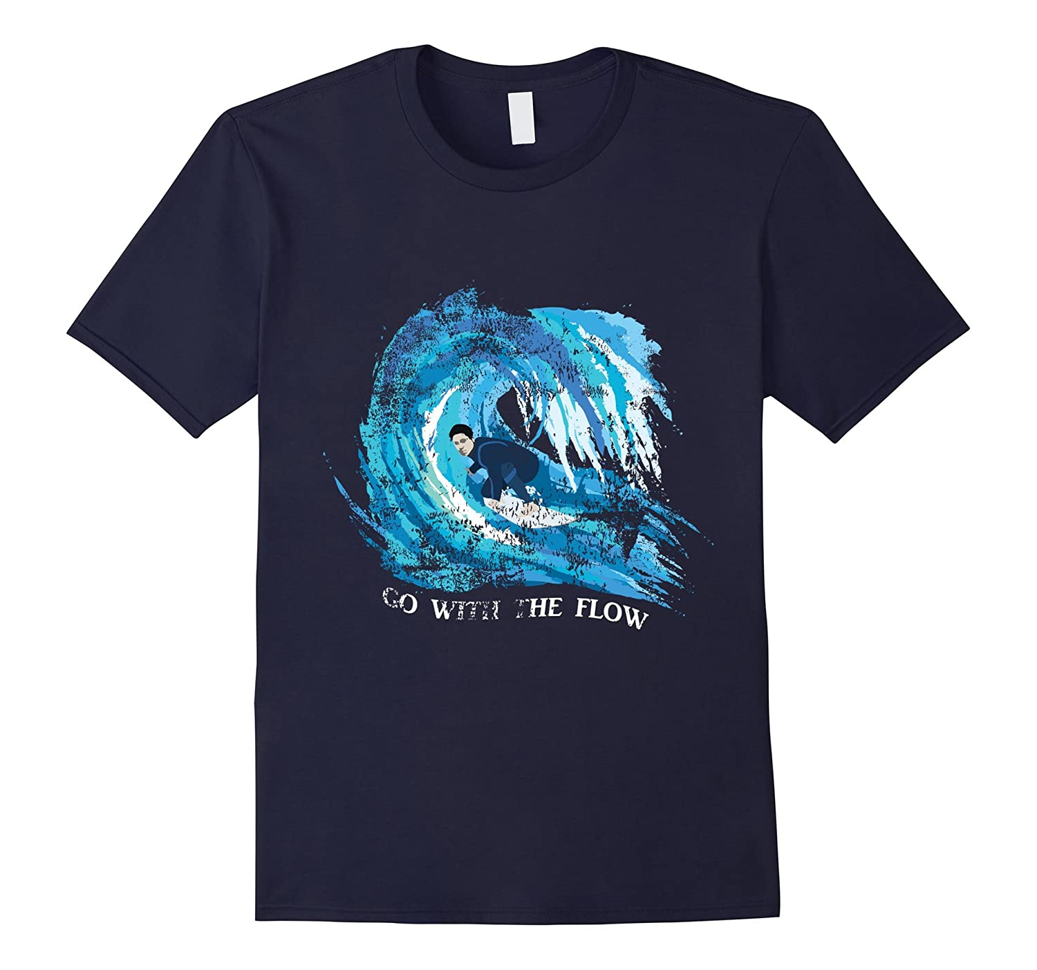 Surf T-Shirts Go With The Flow Distressed The Surfer's Way-FL