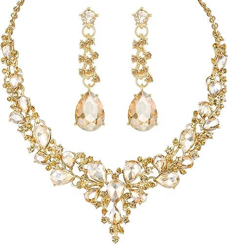 Fashion Wedding Bridal Rhinestone Necklace Earring Jewelry Set Women Party Gift