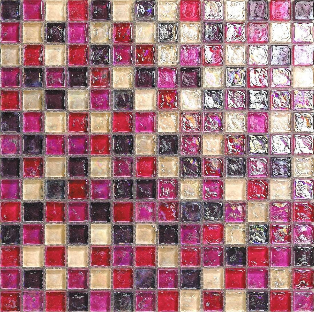 Rosa madre de perla de cristal mosaico azulejos alfombra con efecto de cristal giratorio (MT0027) GTDE