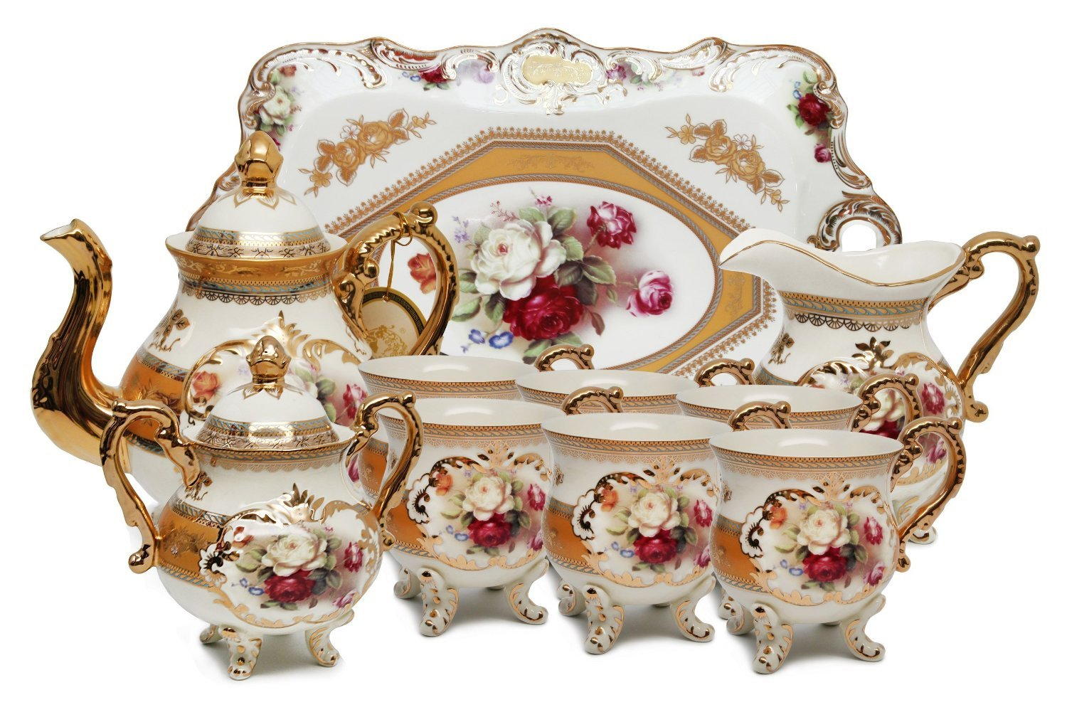 Royalty Porcelain 10-Piece Vintage Rose-Decorated Dining Tea Cup Set, Service for 6, Handmade & Hand-Painted, 24K Gold-Plated Bone China Tableware