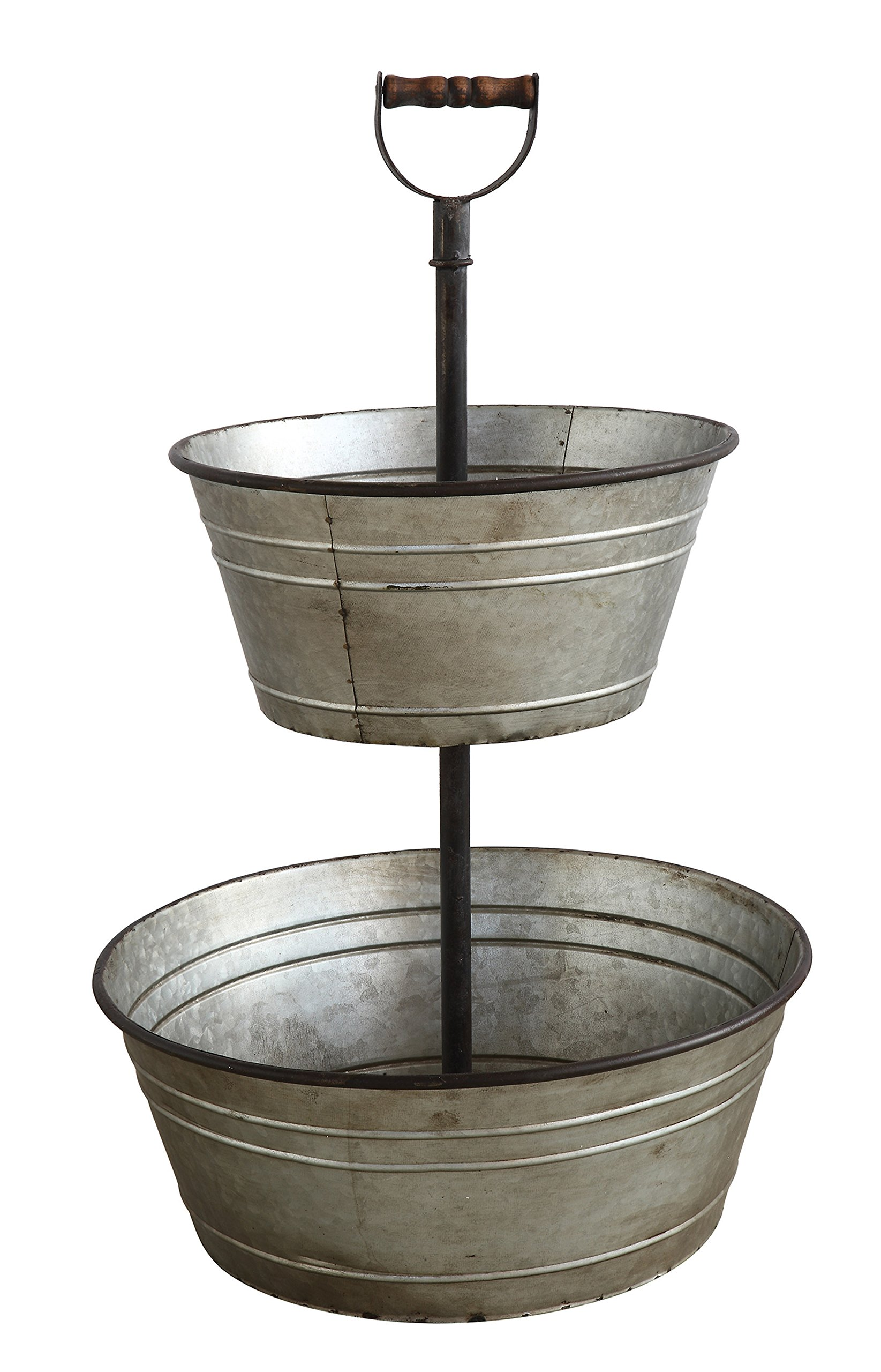 Creative Co-Op Two-Tier Serving Tray with Handle, Silver
