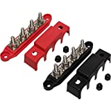 "(Red & Black) 5/16"" 4 Stud Power Distribution Block -BUSBAR- with Cover"