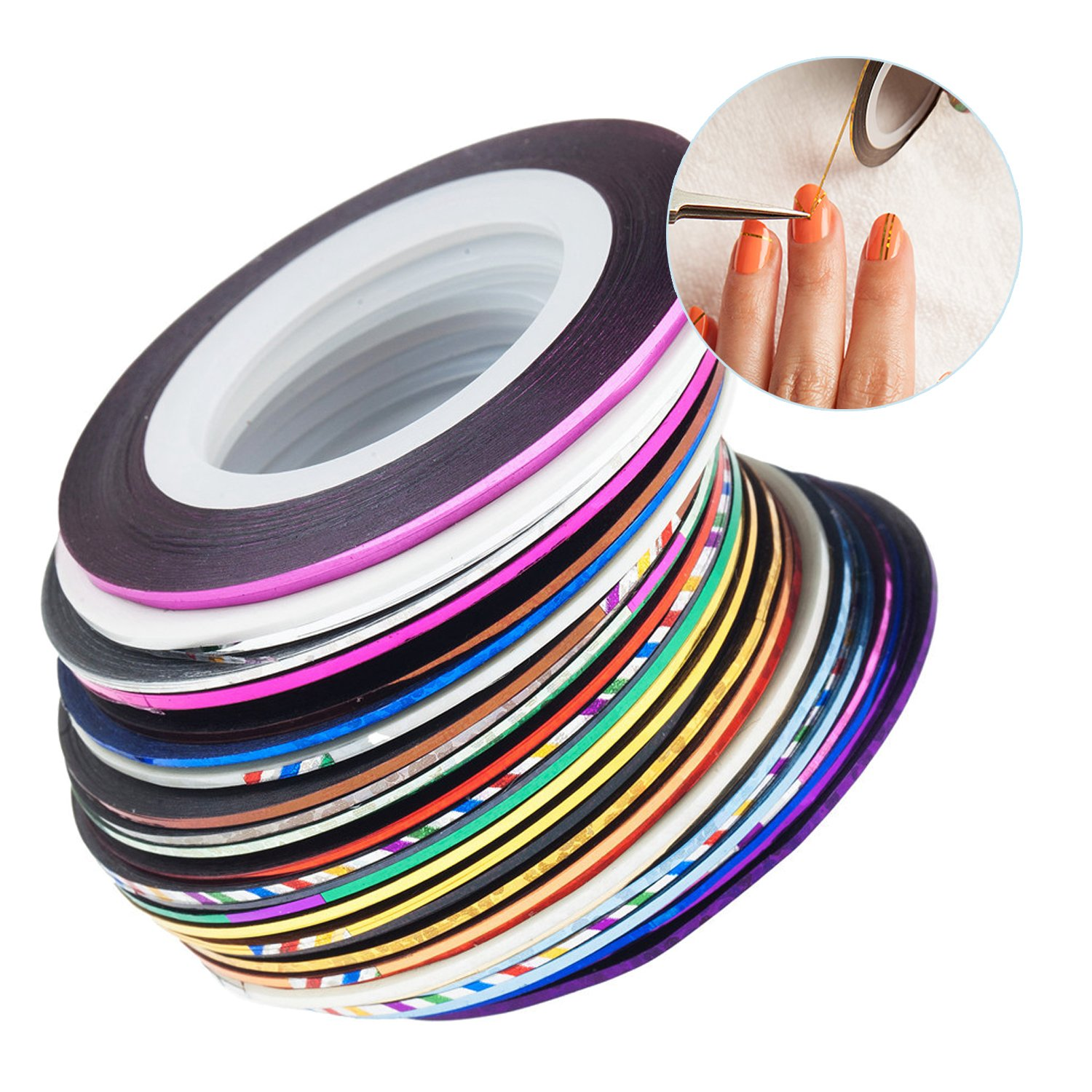 Professional High Quality Nail Art Tools Accessories Set of 32 Colourful Nailart Stripes / Striping Tapes By VAGA®