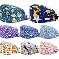 SATINIOR 8 Pieces One Size Working Cap with Button and Sweatband Adjustable Tie Back Hats Bouffant Hats for Women Men