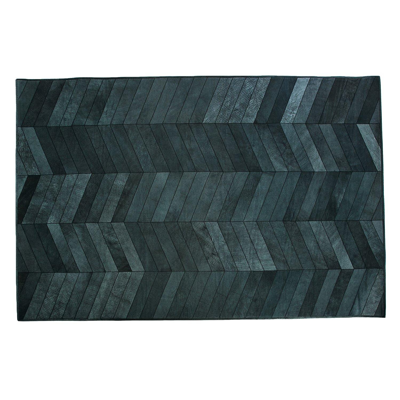 Formart Mosaic Parquet Recycelter Lederteppich mit Schwarzem Parkettmuster und Zickzack Nähten, Leder, Schwarz, 240 x 170 x 0.4 cm