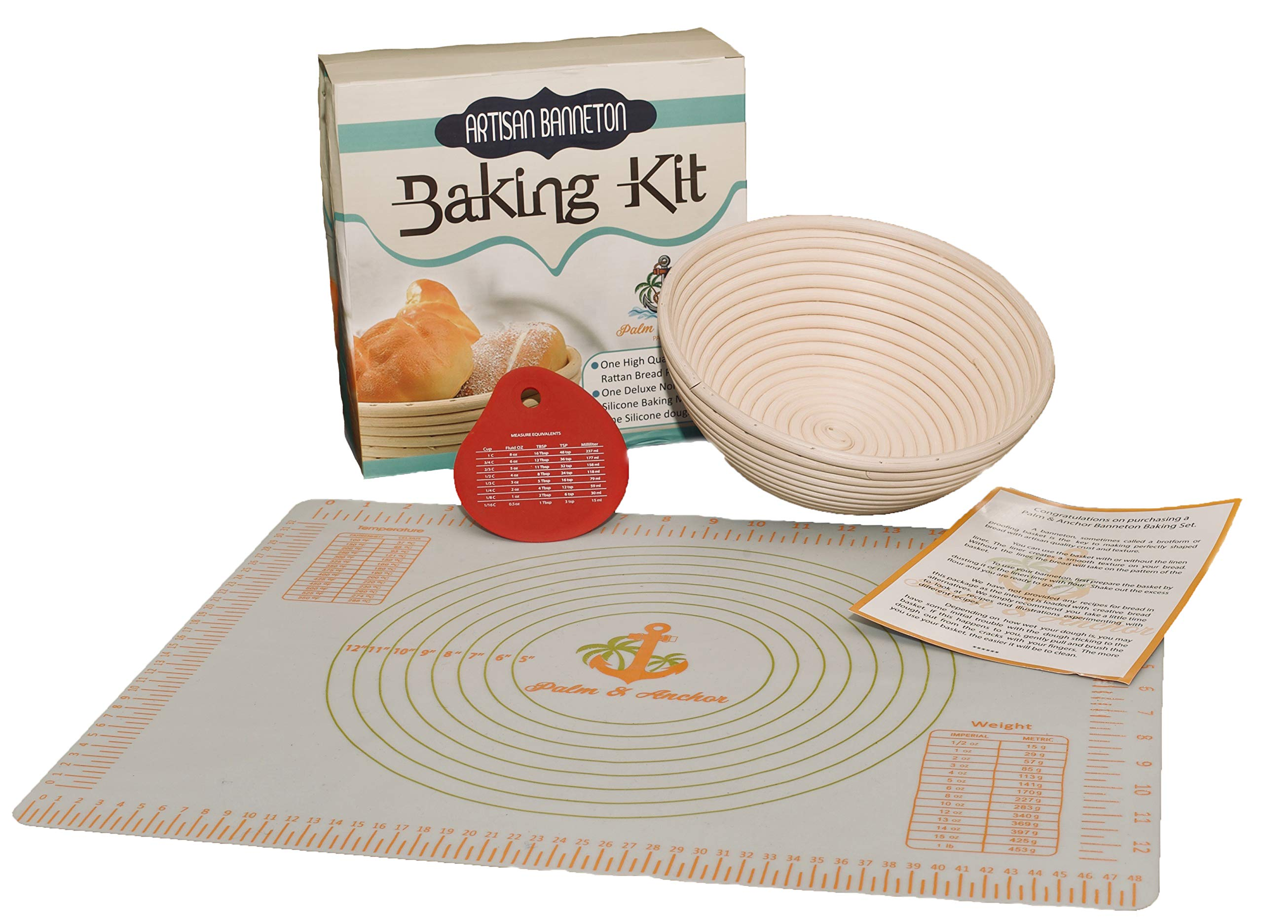 Premium Banneton Bread Proofing Basket, 4 Piece Bread Baking Kit with 9 Inch Dough Proofing Basket + Non-Stick, Silicone Baking Mat + Silicone Dough Scraper + Linen liner by Palm & Anchor by Palm & Anchor Pantry