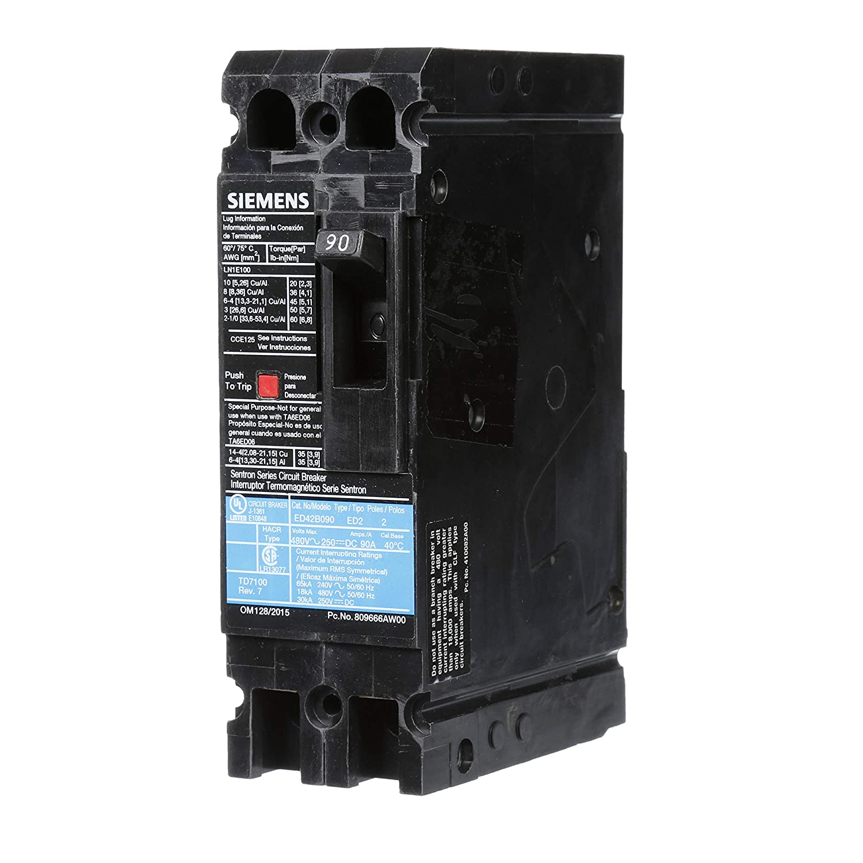 Type ED4 2 Pole Siemens -HI 90 Amp Siemens ED42B090 Circuit Breaker