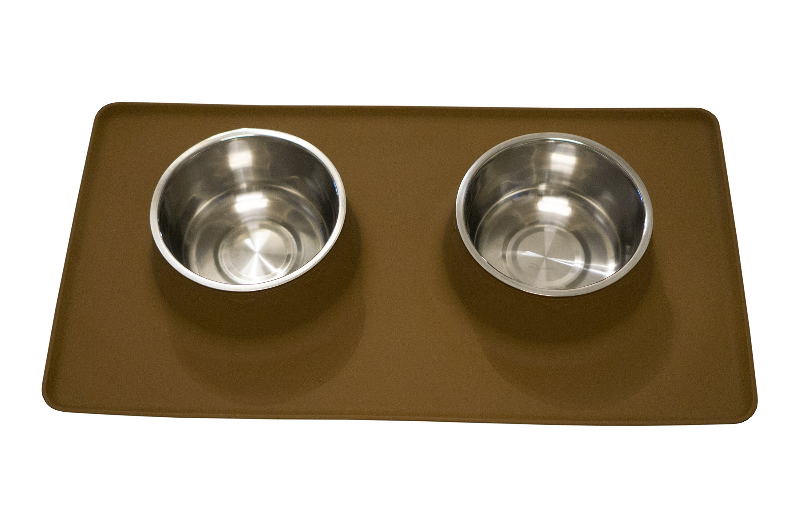 Stay-Clean Pet Feeding Station.  Dog / Cat Food Bowl Set with Non-Slip Silicone Mat, By OurGivingEarth (Large, Brown)