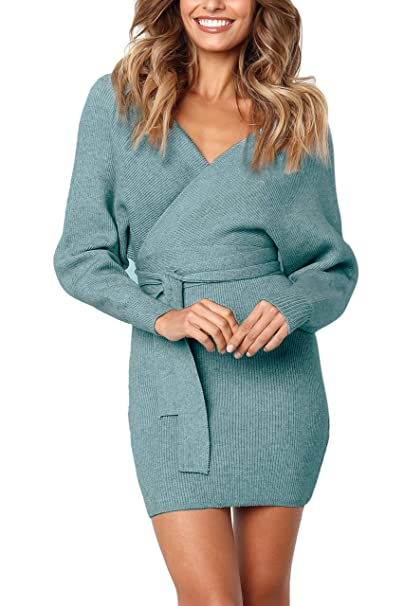44b8da98db1 Junxiang Women s Sexy V Neck Wrap Belted Batwing Long Sleeve Backless  Pencil Bodycon Knitted Mini Sweater Dress  Amazon.ca  Clothing   Accessories