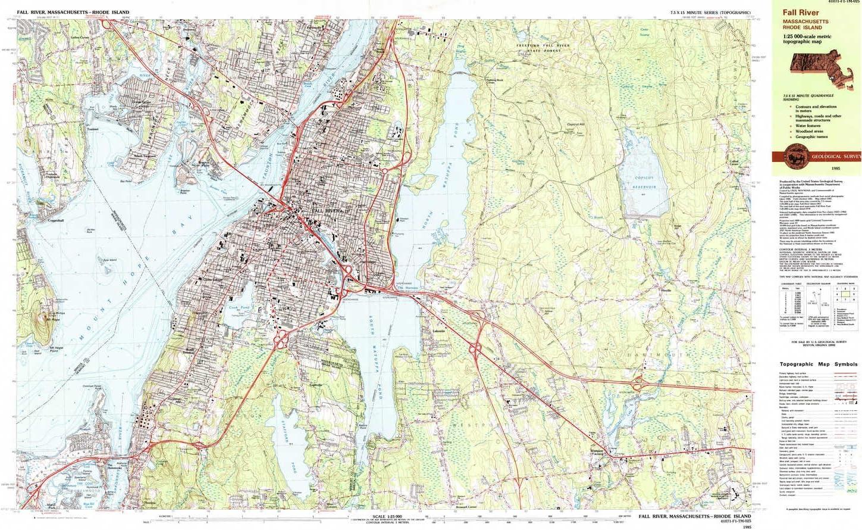 Amazon.com: YellowMaps Fall River MA topo map, 9:9 Scale, 9.9