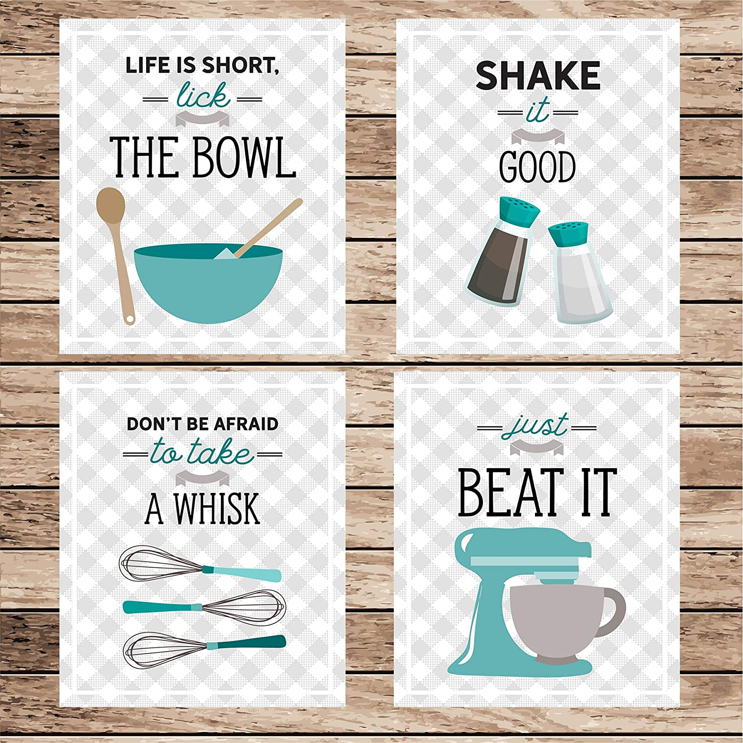 Modern Farmhouse Teal Blue Retro Vintage Kitchen Wall Art Signs Set of 4-8x10 UNFRAMED Gray Teal /& White Kitchen Utensil Prints Perfect for Rustic Mid-Century,Country Decor.