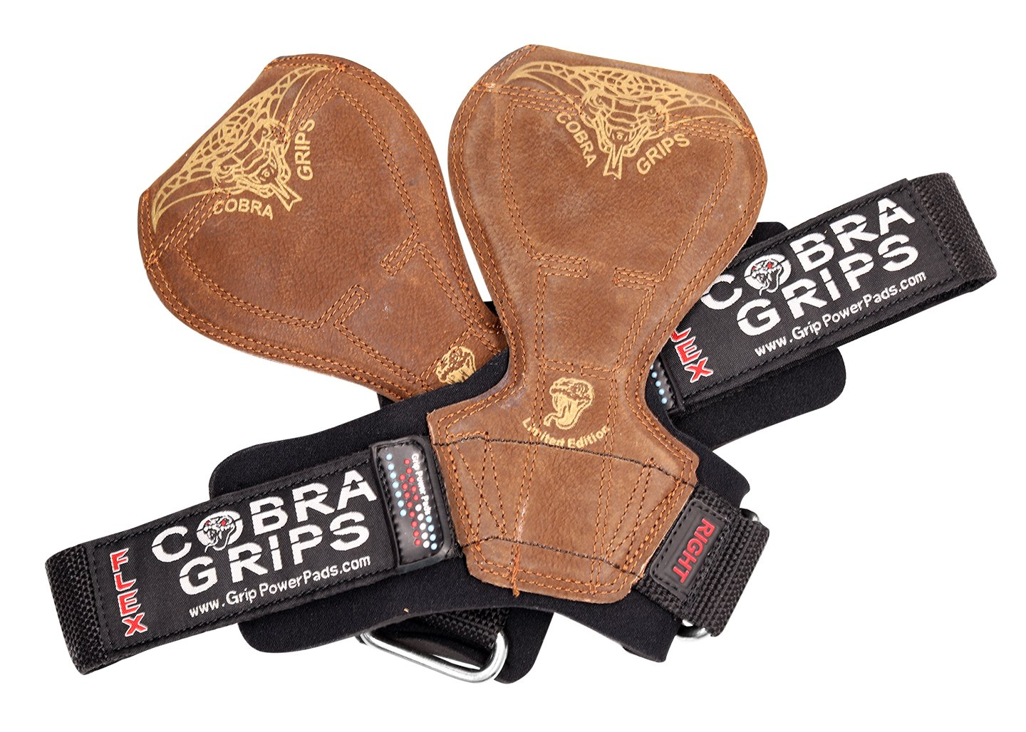 2018 Cobra Grips Flex Model Weight Lifting Gloves Heavy Duty Straps Alternative Power Lifting Hooks Best for Deadlifts with Padded Wrist Wrap Support Bodybuilding (Medium, Brown Leather) by Grip Power Pads (Image #7)