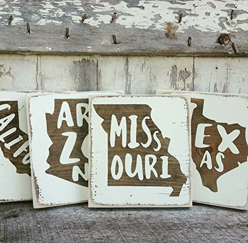 MINI Rustic Wood Signs - Whitewash State Signs - Home State Decor - Personalized State Sign 6x7in