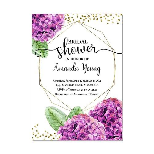 purple hydrangea bridal shower invitations set of 10 printed invitations