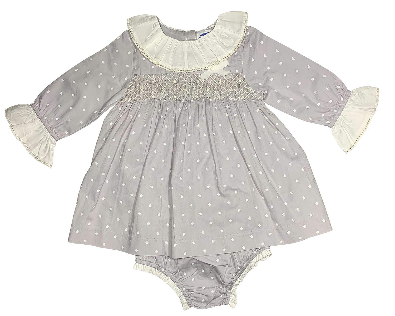 Sterne mit Hellgraue Hintergrund M/ädchen und Baby-M/ädchen Handgesmokt Kleid Lang/ärm Patricia Mendiluce Herbst-Winter