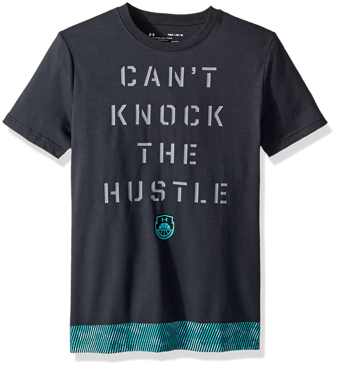Under Armour ボーイズ ノックザハッスルTシャツ B0728BPJPJ  Anthracite (016)/Teal Punch Youth Large