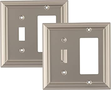Wall Plates Accessories Pack Of 2 Wall Plate Outlet Switch Covers By Sleeklighting Variety Of Styles Decorator Duplex Toggle Combo Decorative Satin Nickel Size 2 Gang Duplex Tools Home Improvement