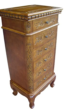 China Warehouse Direct French Furniture, Solid Wood Handcarved 6 Drawer  Chest/Tall Boy In