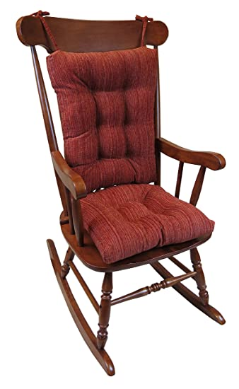 Extra Large Universal Rocking Chair Cushion Garnet Red Back And Seat  Cushions Pad Set