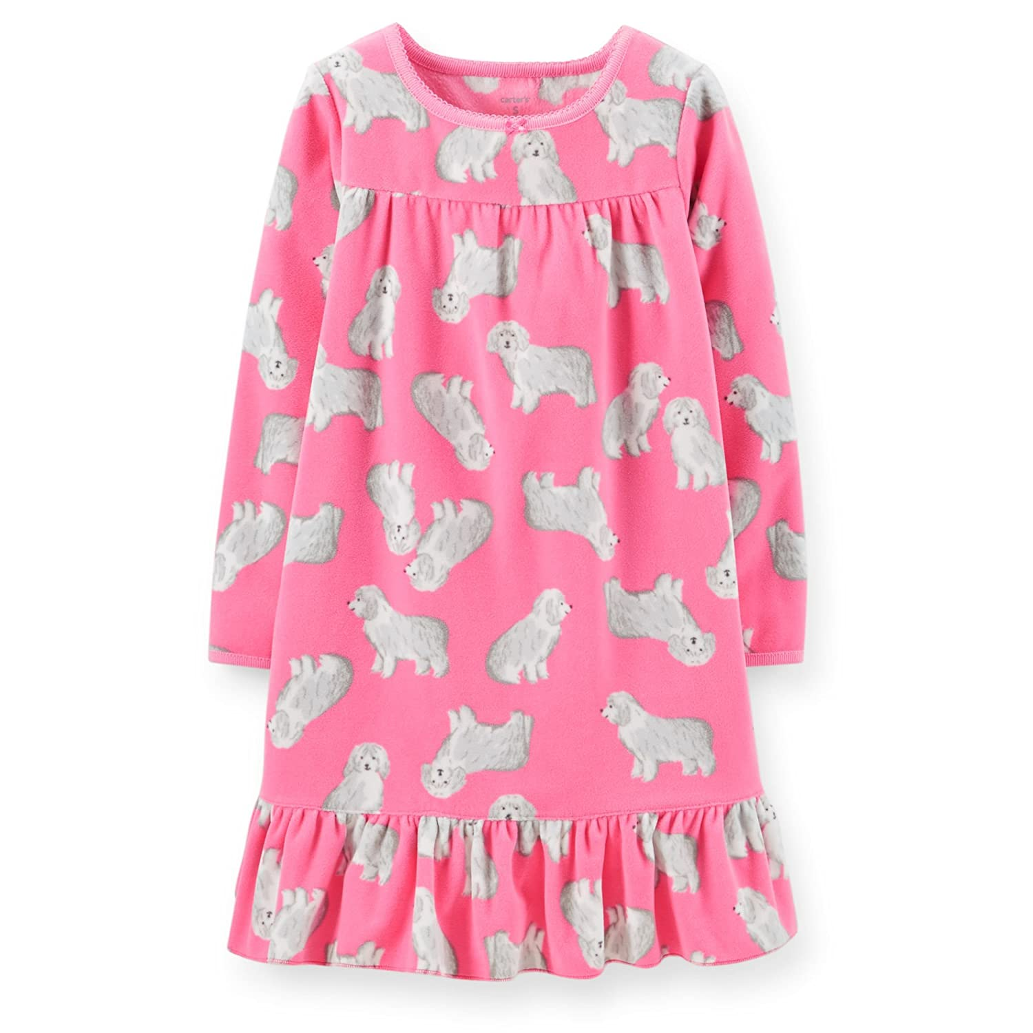 Carters Little Girls Microfleece Ruffle Hem Pink Dog Print Gown