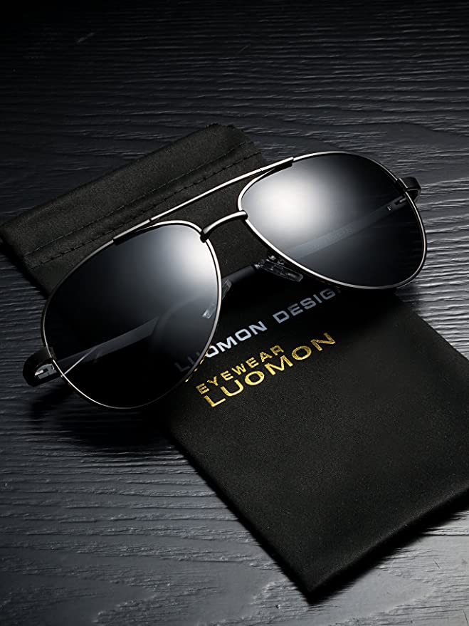 a19b576858e Amazon.com  LUOMON Men s Polarized Aviator Sunglasses Metal Grey Frame Grey  Lens for Fishing Driving Cycling Golf Baseball Running Softball Hiking LM033   ...