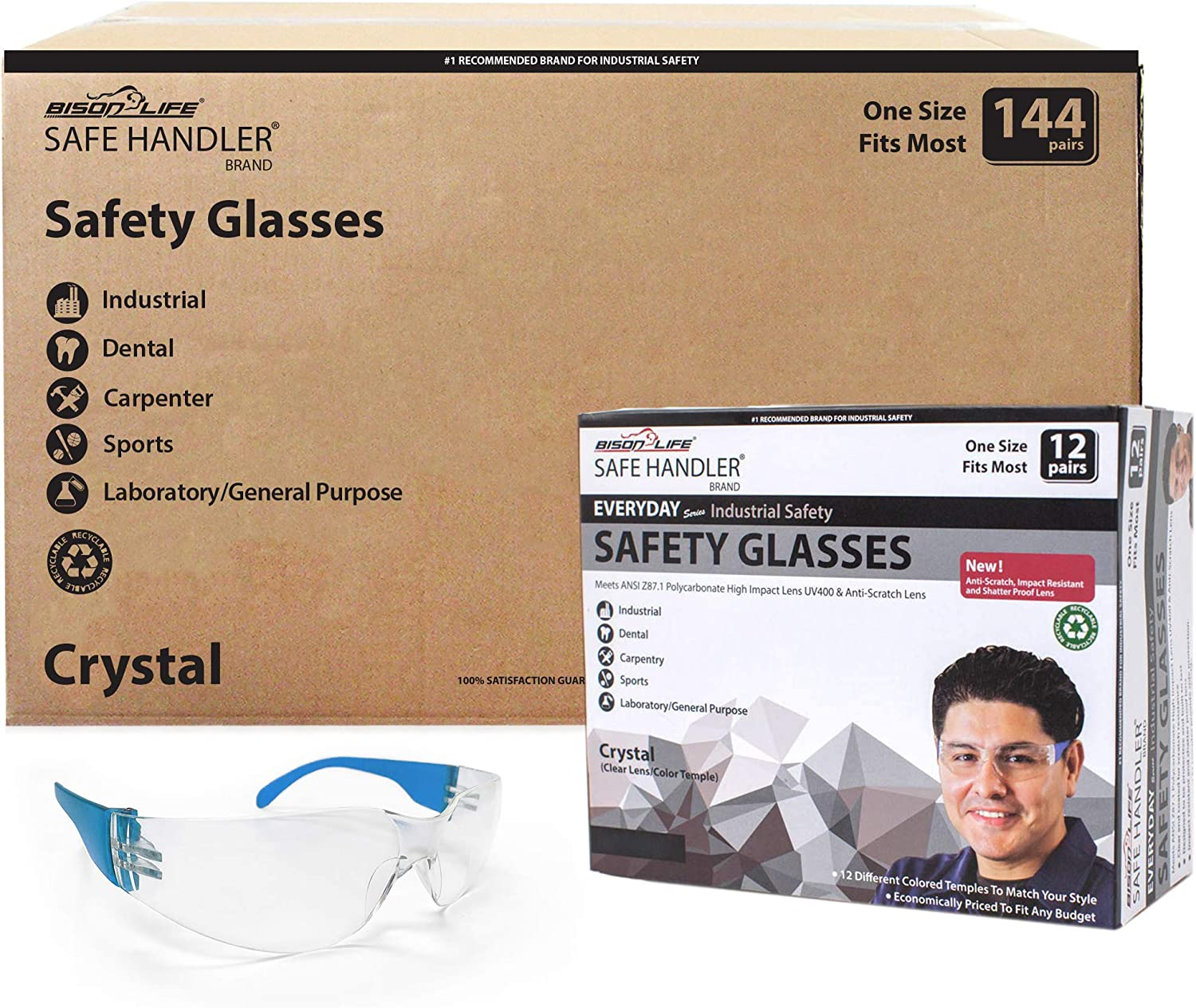 SAFE HANDLER Protective Safety Glasses - Clear Polycarbonate Impact and Ballistic Resistant Lens, BLUE Temple (Case of 12 Boxes, 144 PAIRS)
