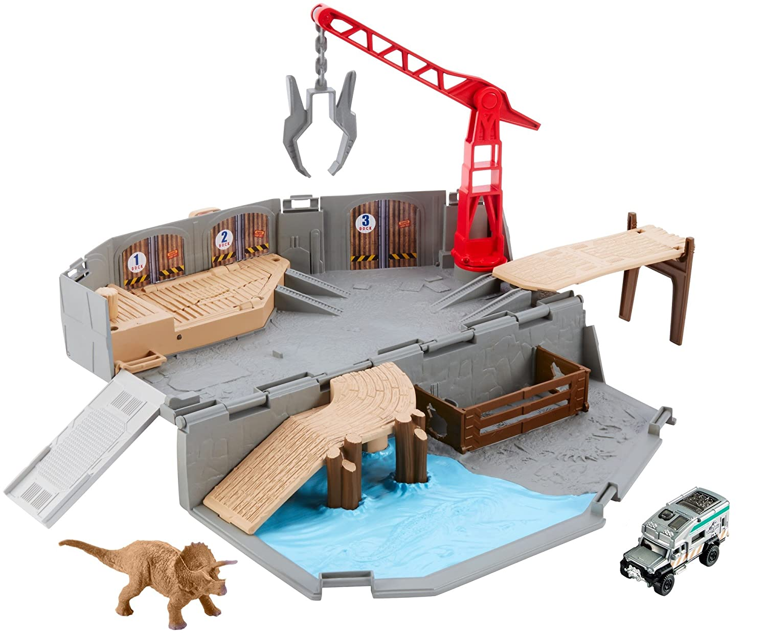 A Matchbox Jurassic World Portable Harbor Rescue Playset