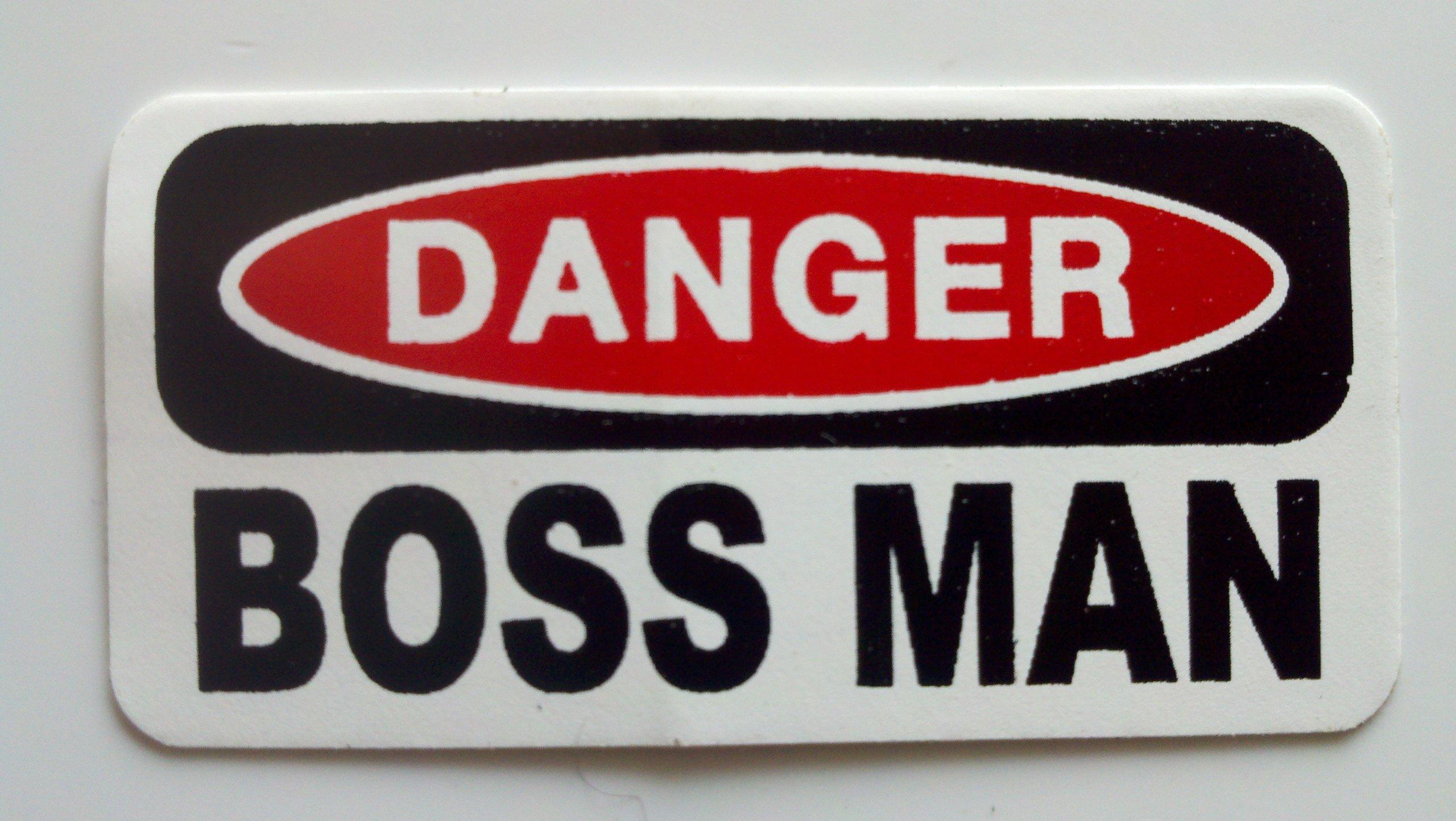 "3 - Danger Boss Man Hard Hat/Helmet Stickers 1"" x 2"" by StickerPirate (Image #3)"