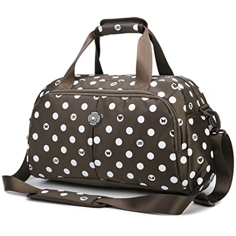 2da7f7f0a2 AOKE Sleek Spots Travel Duffle Carry-on Weekender Bag Flight Holdall Tote  Crossbody Luggage Small Size Spots Brown with Free Anti-Theft Lock   Amazon.ca  ...