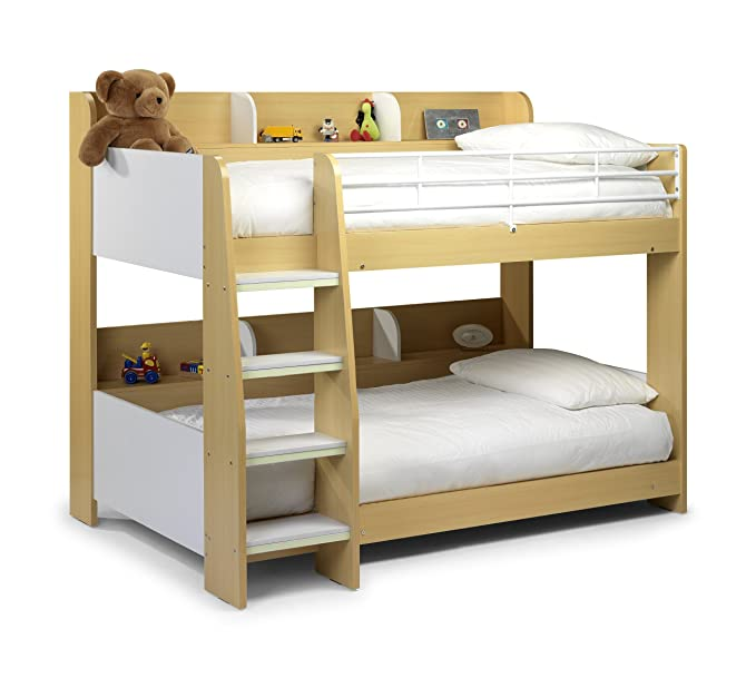 Julian Bowen Domino Bunk Bed - Single, White/Maple Finish: Amazon.co ...