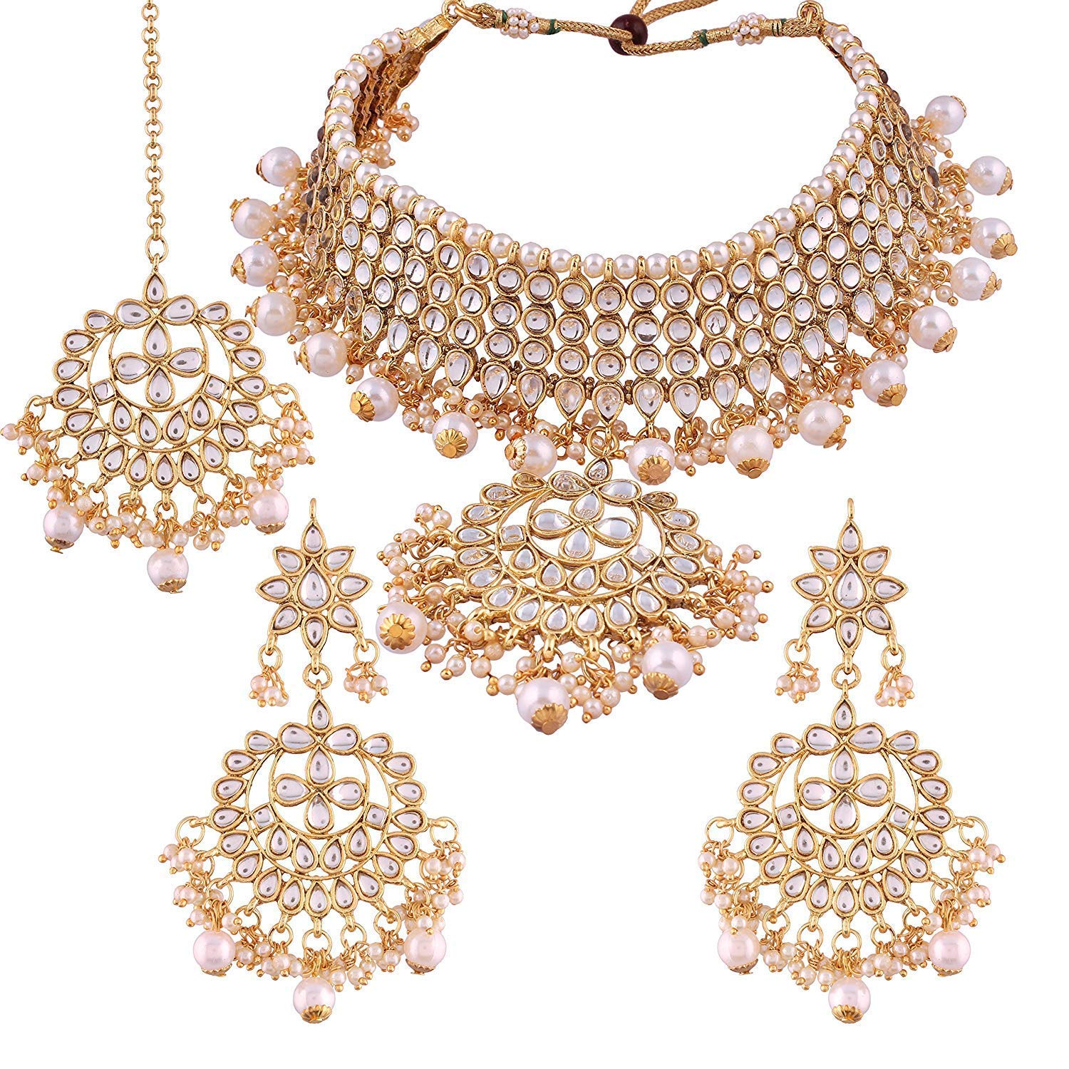 Aheli Indian Traditional Maang Tikka with Kundan Necklace Earrings Set Ethnic Wedding Party Designer Jewelry for Women (White)