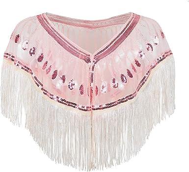 LVOW Mujeres Brillante Lentejuelas metalicas Chal Wrap De Tarde Kimono Cubrir Up con flecos C/árdigan Mant/ón